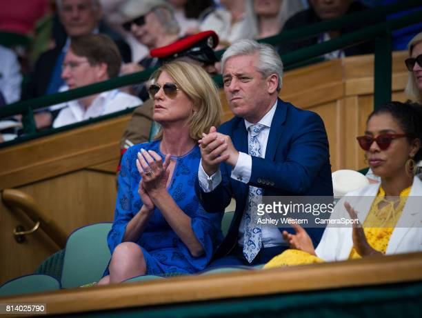 John Bercow Speaker of the House of Commons in the Royal Box on Day 10 with his wife Sally at Wimbledon on July 13 2017 in London England