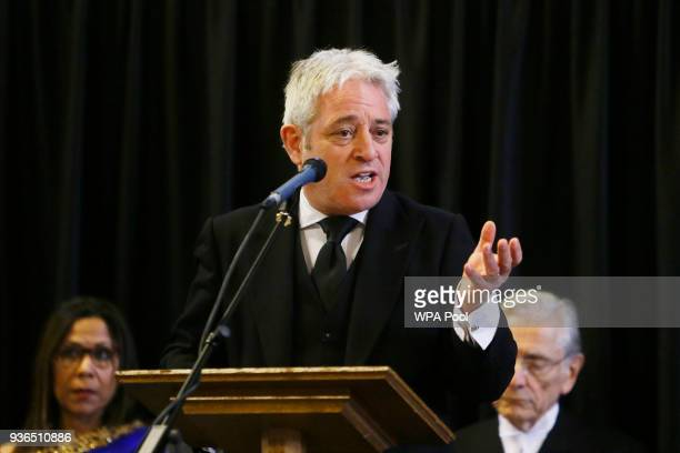 John Bercow Speaker of the House of Commons reads I shall stand for love a poem written after the terror attack in Belgium in 2016 during a...