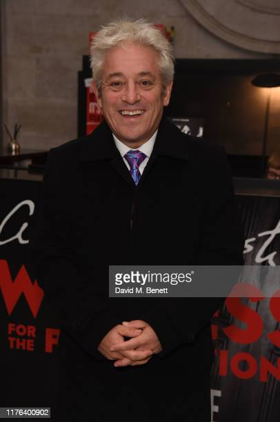"John Bercow visits the West End production of ""Agatha Christie's Witness For The Prosecution"" at London County Hall on October 17, 2019 in London,..."