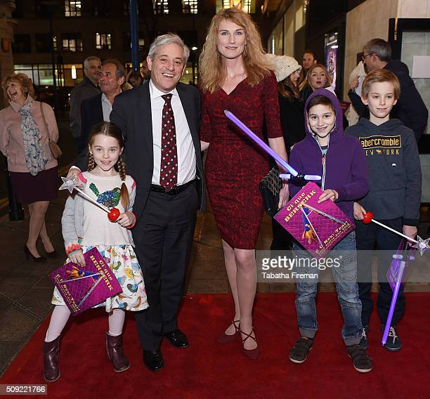 John Bercow wife Sally Bercow and their children attend the Press night for Cirque Berserk at The Peacock Theatre on February 9 2016 in London England