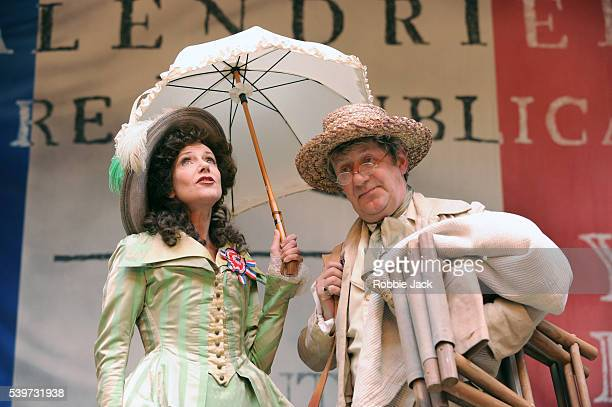 John Bett and Belinda Lang perform in the production Liberty at the Globe Theatre in London