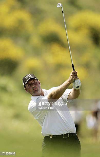 John Bickerton of England plays his second shot into the fifth green en route to winning the 2006 Open de France presented by Alstom by one shot on a...