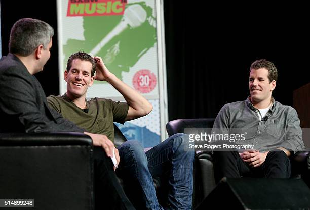 John Biggs of TechCrunch, Cameron Winklevoss and Tyler Winklevoss speak onstage at 'Bitcoin! Let's Cut Through the Noise Already' during the 2016...