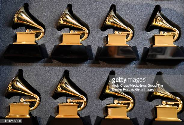 John Billings Billings Artworks has two cases of stunt Grammy statues that he will take with him for the upcoming awards show in his studio in...
