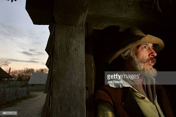 John Billington stands in the doorway to his home at the 1627 Pilgrim Village at Plimoth Plantation where he and other roleplayers portray Pilgrims...
