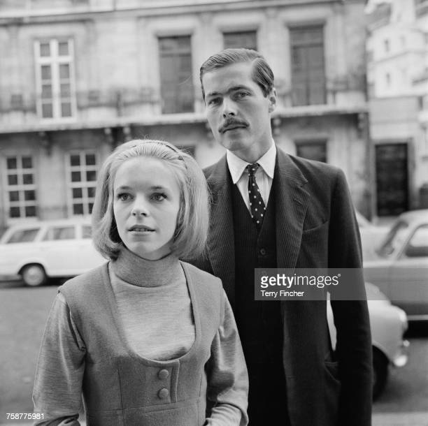 John Bingham 7th Earl of Lucan with his future wife Veronica Duncan after they announced their engagement 14th October 1963 The couple were married...