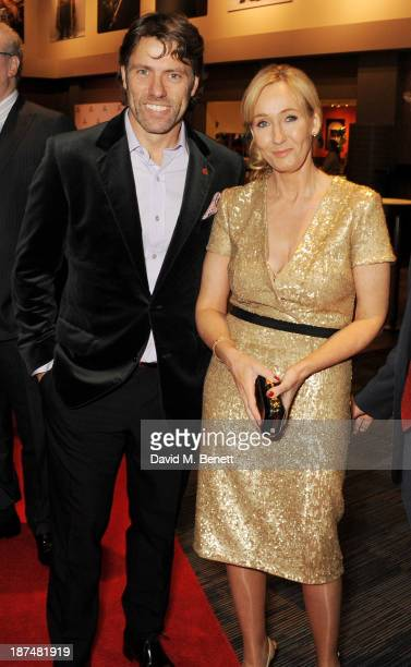 John Bishop and JK Rowling attend the Lumos fundraising event hosted by JK Rowling at The Warner Bros Harry Potter Tour on November 9 2013 in London...