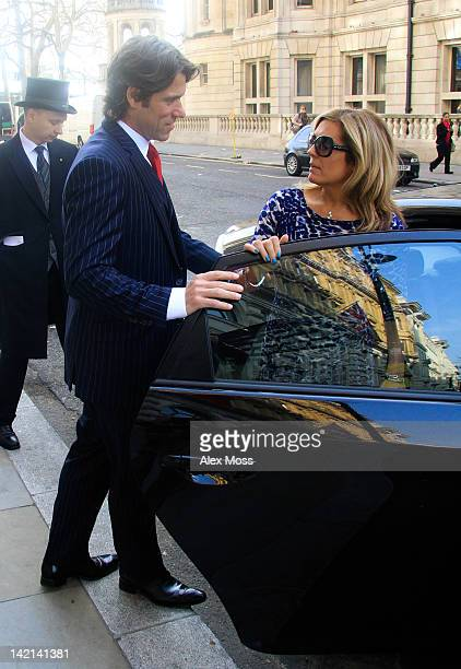 John Bishop and Melanie Bishop seen leaving their hotel to go to downing street on March 30 2012 in London England