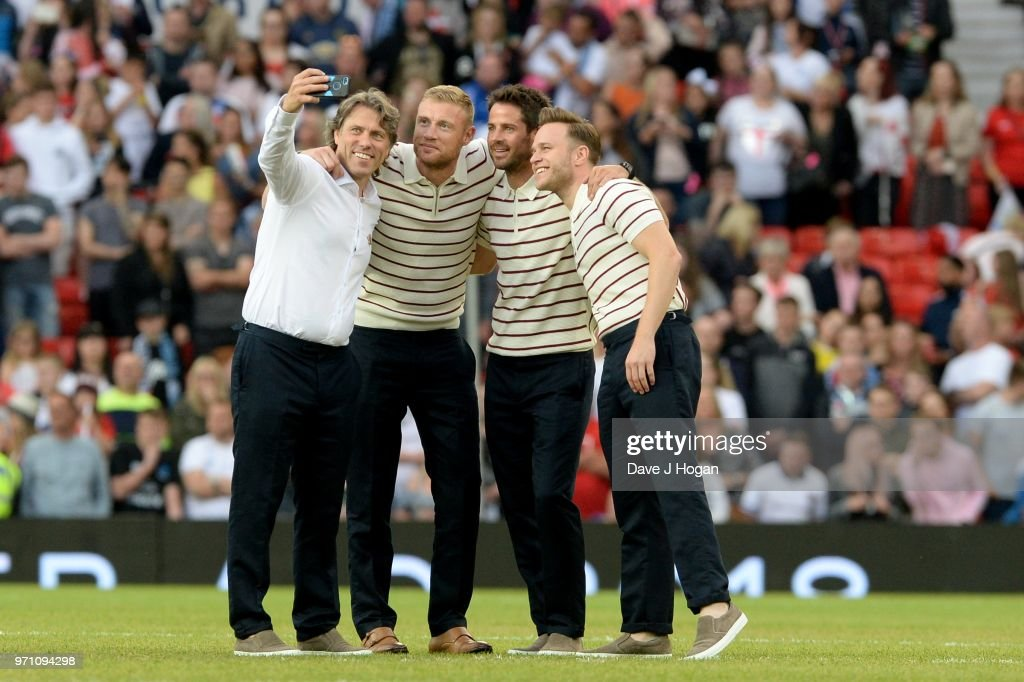 John Bishop, Andrew Flintoff, Jamie Redknapp and Olly Murs pose for a selfie prior to kick off during Soccer Aid for Unicef 2018 at Old Trafford on June 10, 2018 in Manchester, England.