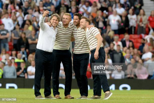 John Bishop Andrew Flintoff Jamie Redknapp and Olly Murs pose for a selfie prior to kick off during Soccer Aid for Unicef 2018 at Old Trafford on...
