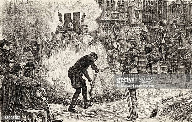 John Bland, John Frankesh, Nicholas Sheterden, And Humphrey Middleton Burnt Alive For Heresy During The 16Th Century. From The Book Of Martyrs By...
