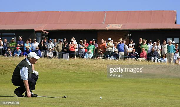 John Bland of South Africa in action during the final round of the Ryder Cup Wales Seniors Open played at Royal Porthcawl Golf Club on June 20 2010...