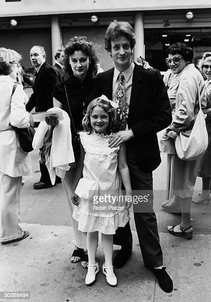 John Blyth Barrymore son of John Drew Barrymore with halfsister child actress Drew Barrymore Drew's mother Ildiko Jaid celebreating the commemorative...