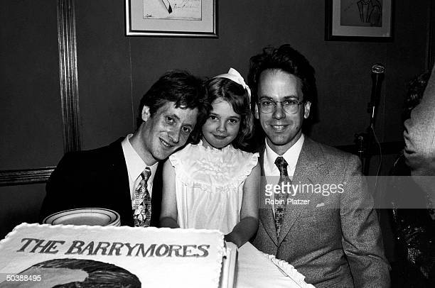 John Blyth Barrymore son of John Drew Barrymore with halfsister child actress Drew Barrymore cousin John Miglietter celebrating Barrymore...