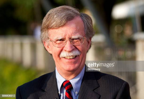John Bolton former US ambassador to the United Nations and senior fellow at the American Enterprise Institute pauses during a television interview at...