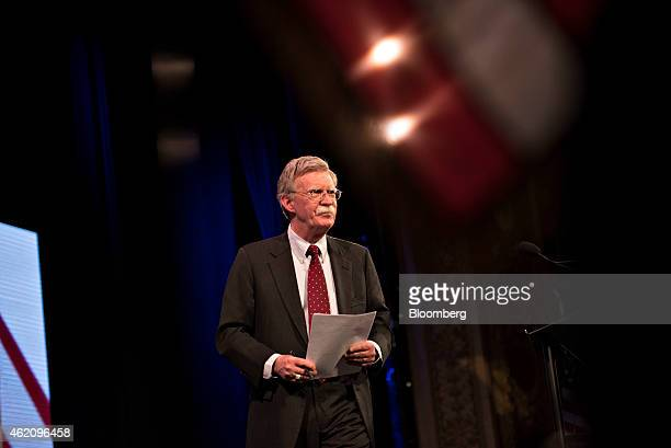 John Bolton former US ambassador to the United Nations walks on stage during the Iowa Freedom Summit in Des Moines Iowa US on Saturday Jan 24 2015...