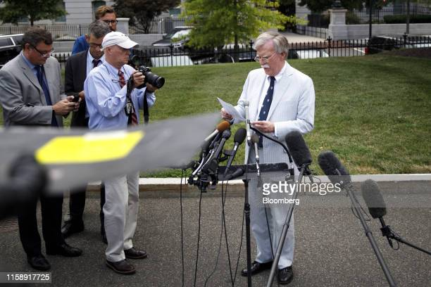 John Bolton national security adviser speaks to members of the media outside the White House in Washington DC US on Wednesday July 31 2019 The White...