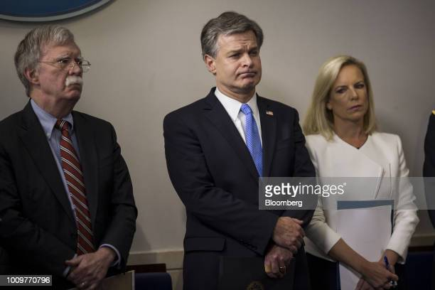 John Bolton national security advisor from left Christopher Wray director of the Federal Bureau of Investigation and Kirstjen Nielsen US secretary of...