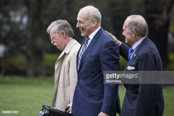 John Bolton national security advisor from left John Kelly White House chief of staff and Larry Kudlow director of the US National Economic Council...