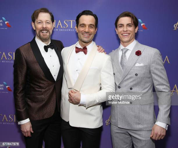 John Bolton Ramin Karimloo and Derek Klena attend Broadway Opening Night After Party for 'Anastasia' at the Mariott Marquis Hotel on April 24 2017 in...