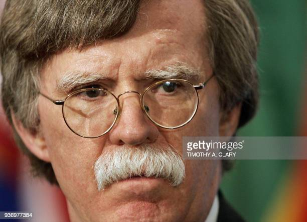 John Bolton United States Ambassador to the United Nations speaks after a Security Council Meeting 20 July 2006 at UN headquarters in New York UN...