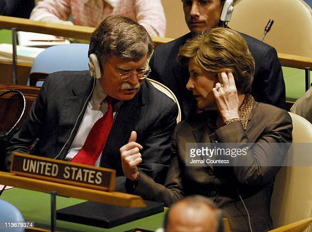 John Bolton US Ambassador to the United Nations and First Lady Laura Bush at the United Nations General Assembly during the Highlevel meeting on...