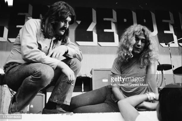 John Bonham and Robert Plant of Led Zeppelin, during a rehearsal at Hiroshima Prefectural gymnasium, Hiroshima, Japan, 27th September 1971.