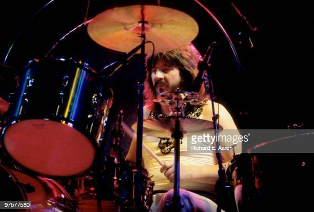 John Bonham from Led Zeppelin performs live on stage at Madison Square Garden New York in June 1977