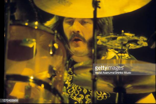 John Bonham of Led Zeppelin performing on stage at Earl's Court, London, May 1975.