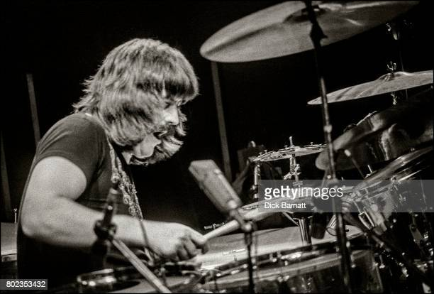 John Bonham of Led Zeppelin performing on stage at Earls Court London 24th May 1975