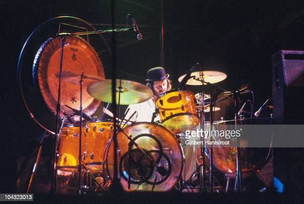 John Bonham of Led Zeppelin performs on stage at Ahoy on 12th January 1975 in Rotterdam Netherlands He wears a bowler hat and plays a Ludwig Amber...