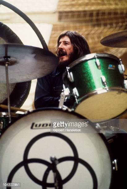John Bonham of Led Zeppelin performs on stage at Oude Rai on 27th May 1972 in Amsterdam Netherlands He plays a green sparkle Ludwig drum kit