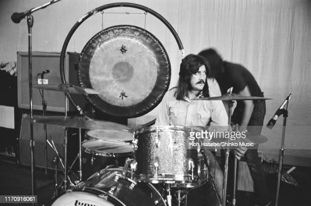John Bonham of Led Zeppelin playing drums, rehearsing at Hiroshima Prefectural gymnasium, Hiroshima, Japan, 27th September 1971.