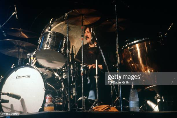 John Bonham plays with Led Zeppelin at Knebworth This was the last time Led Zeppelin appeared in England The audience was estimated at 187000 on...