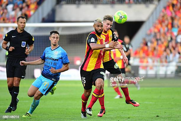 John Bostock of Lens and Benjamin Bourigeaud of Lens during the Ligue 2 match between Lens and Tours at Stade BollaertDelelis on August 5 2016 in...
