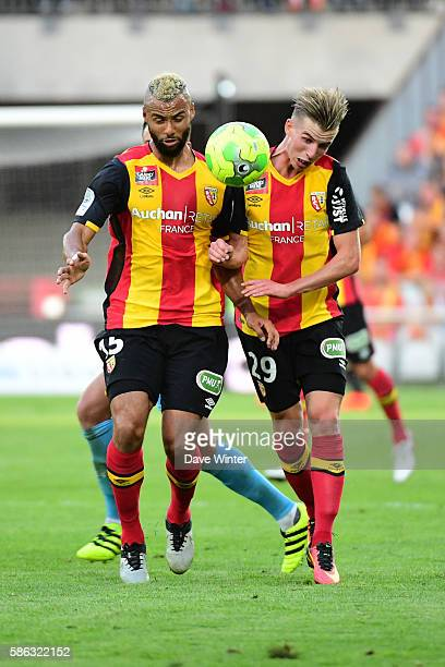 John Bostock of Lens and Benjamin Bourigeaud of Lens during the Ligue 2 match between Racing Club de Lens and Tours FC at Stade BollaertDelelis on...