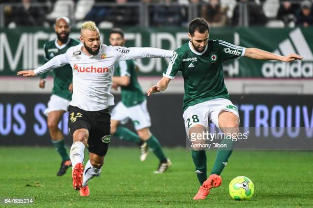 John Bostock of Lens and Florian Makhedjouf of Red Star during the French Ligue 2 match between Red Star and Lens at Stade Jean Bouin on March 3 2017...