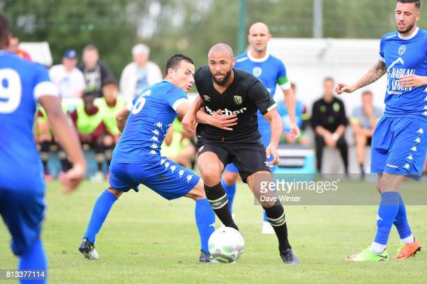 John Bostock of Lens and Karim Azamoum of Troyes during the pre season friendly match between RC Lens and ESTAC Troyes on July 12 2017 in Itancourt...