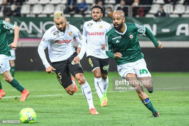 John Bostock of Lens and Ludovic Sylvestre of Red Star during the French Ligue 2 match between Red Star and Lens at Stade Jean Bouin on March 3 2017...