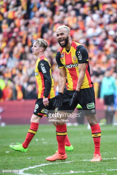 John Bostock of Lens looks dejected during the French Ligue 2 match between Lens and Valenciennes at Stade BollaertDelelis on February 25 2017 in...