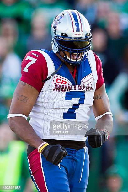 John Bowman of the Montreal Alouettes celebrates after a sack in the game between the Montreal Alouettes and Saskatchewan Roughriders in week 14 of...