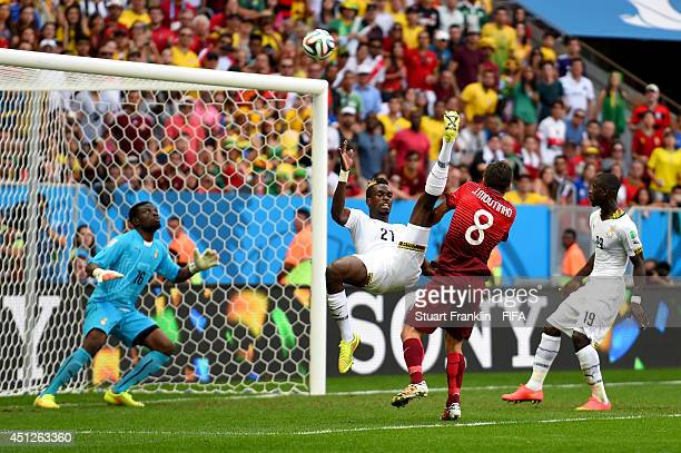 John Boye of Ghana concedes an own goal to Portugal during the 2014 FIFA World Cup Brazil Group G match between Portugal and Ghana at Estadio...