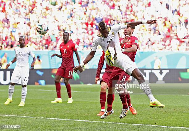 John Boye of Ghana scores an own goal during the 2014 FIFA World Cup Brazil Group G match between Portugal and Ghana at Estadio Nacional on June 26,...