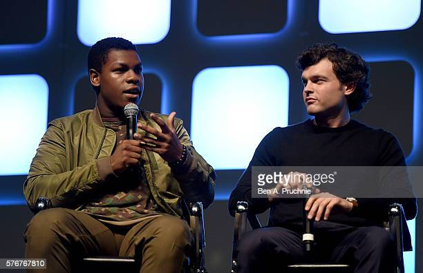 John Boyega and Alden Ehrenreich who will play Han Solo on stage during Future Directors Panel at the Star Wars Celebration 2016 at ExCel on July 17...