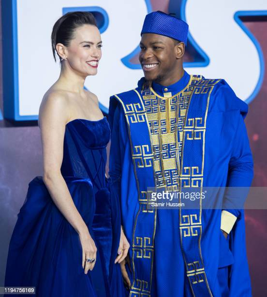 John Boyega and Daisy Ridley attend Star Wars The Rise of Skywalker European Premiere at Cineworld Leicester Square on December 18 2019 in London...