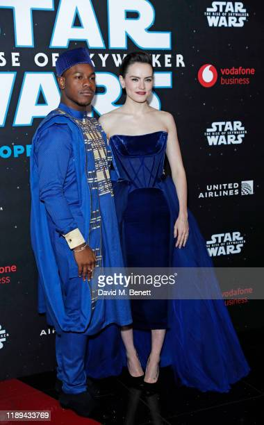 John Boyega and Daisy Ridley attend the European Premiere of Star Wars The Rise of Skywalker at Cineworld Leicester Square on December 18 2019 in...