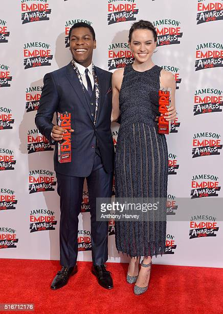 John Boyega and Daisy Ridley with their awards for Best Male and Best Female Newcomers in the winners room at the Jameson Empire Awards 2016 at The...