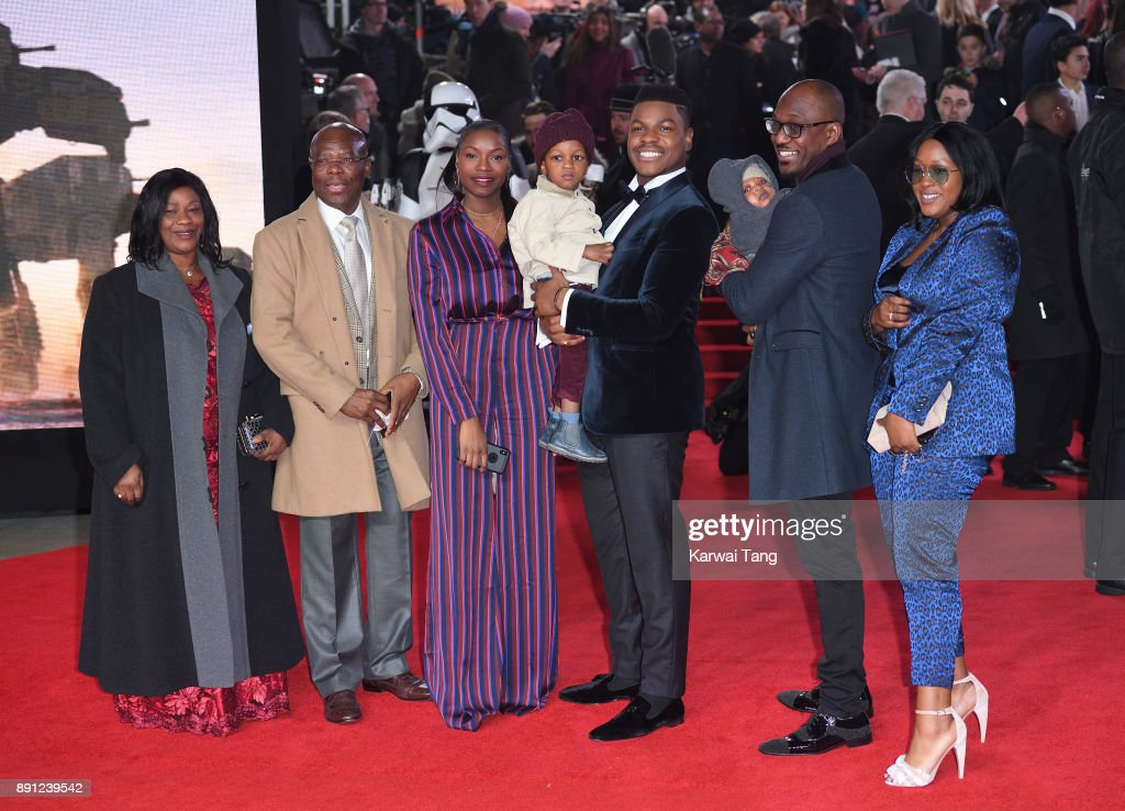 John Boyega and family attend the European Premiere of 'Star Wars: The Last Jedi' at Royal Albert Hall on December 12, 2017 in London, England.
