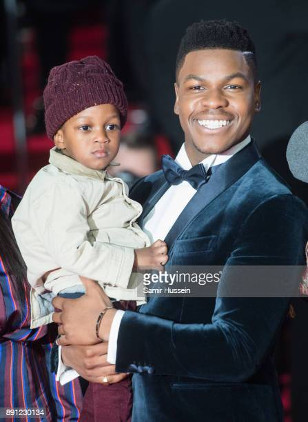 John Boyega and nephew JJ attend the European Premiere of 'Star Wars The Last Jedi' at Royal Albert Hall on December 12 2017 in London England