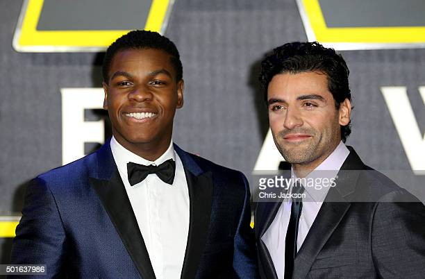John Boyega and Oscar Isaac attend the European Premiere of Star Wars The Force Awakens at Leicester Square on December 16 2015 in London England